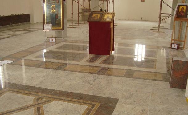 Popločavanje crkve u Andrićgradu
